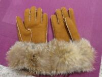 NEW Sheepskin Gloves with Fur Trim