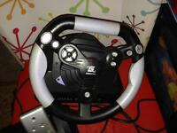 Gamestation steering wheel and peddles