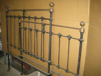 Cast Iron bed ends with brass finials, genuine antique