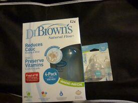 Dr Brown Bottles + unopened packet of Size 2 Teats