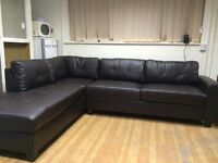 Brown Leather Jumbo Corner Sofa with Chaise - £399 Including Free Local Delivery