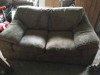 Brown cord 2seater sofa/sofa bed