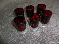 Set of 6 small red shot/cordial glasses