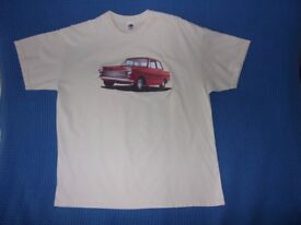 MENS T-SHIRT WITH CLASSIC RED MK1 FORD CORTINA MOTIF - SIZE XL