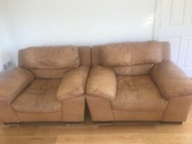 Leather sofa three seater and matching armchairs -used good condition
