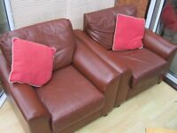 PAIR OF LEATHER ARMCHAIRS, TUB CHAIRS - DEN, LOUNGE - COLLECTION ONLY SUFFOLK