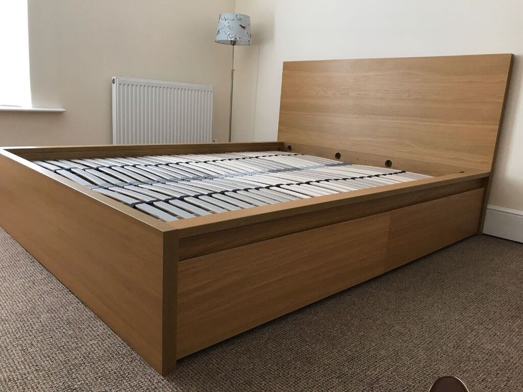 Kingsize Bed Frame Natural Oak Including Storage Drawers