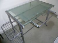 Glass Top Desk with Roll Out Drawer and Side Shelves