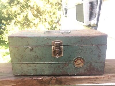 1940's Waterloo Metal Tool Box Chest Tackle Box With Metal Tray