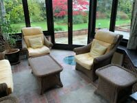Set of Wicker Conservatory furniture 2 x chairs, 1 x sofa, 3 x tables