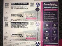 Gold Camping Creamfields Tickets. X2