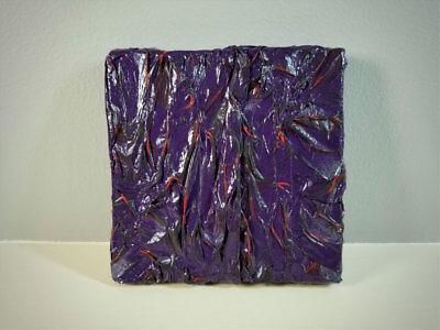 Purple Textured Tissue Paper & Acrylic Mixed Media Art Wall Decor