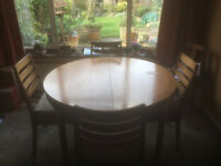 Nathan Dining Table & 4 Chairs, 48inch diameter with butterfly extension leaf.