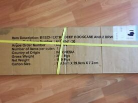 Unboxed and unused Argos 'Beech Extra Deep Bookcase and Two Draw Unit'