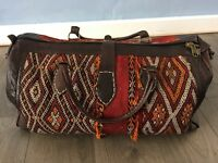 Unisex Genuine leather & woven Moroccan Handbag travel