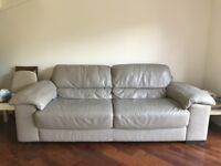 Natuzzi Grey Leather 3 seater sofa for sale
