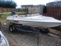Speed boat Simms super V 14ft on Rollercoaster trailer