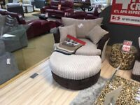Love chair sofa with half moon puffy with loose cushions