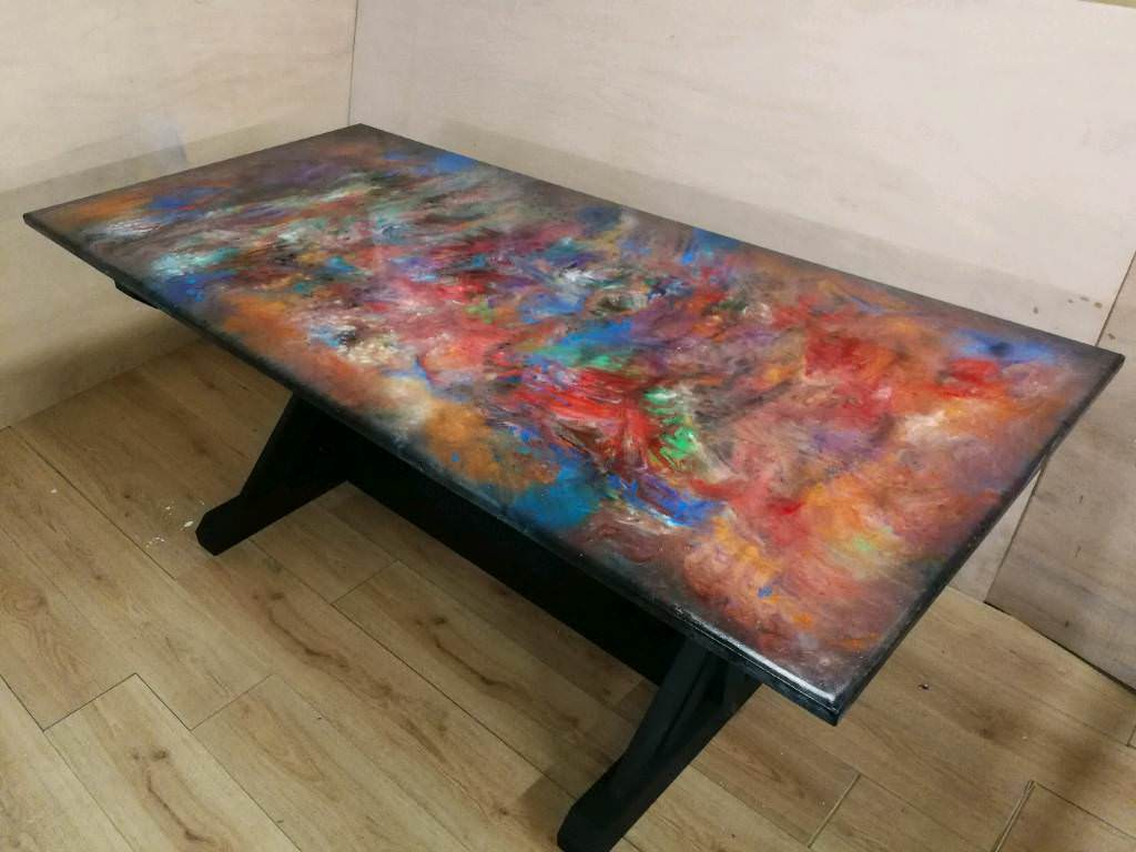 Brand New Resin Art 6 Seater Dining Table In Lydney