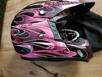 Kids motor cross helmet pink small youth size