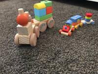 2 x wooden trains