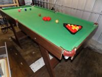 6ft x 3ft folding snooker and pool table complete with balls and triangle