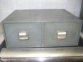 metal 2 draw desk top filling cabinet grey