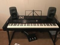 Roland V Piano, stand and 2 genelec speakers