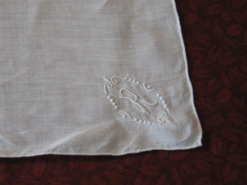 "Stunning Antique VTG Embroidered Monogram ""R"" Handkerchief Hanky~Bridal~Wedding"