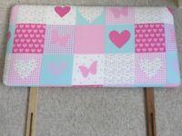 Patchwork pink single bed divan headboard