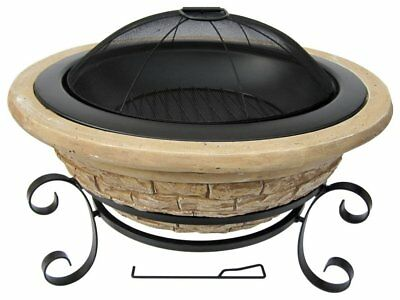 Stone Magnesia Fire Pit - Backyard 30 inches Fireplace w/ Old Frontier Design