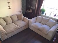 BRAND NEW SOFA SET , BARGAIN 2+3 SEATER SUEDE CORD. COUCH.
