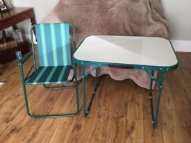x 2 Folding Camping Tables and Chairs - used once!