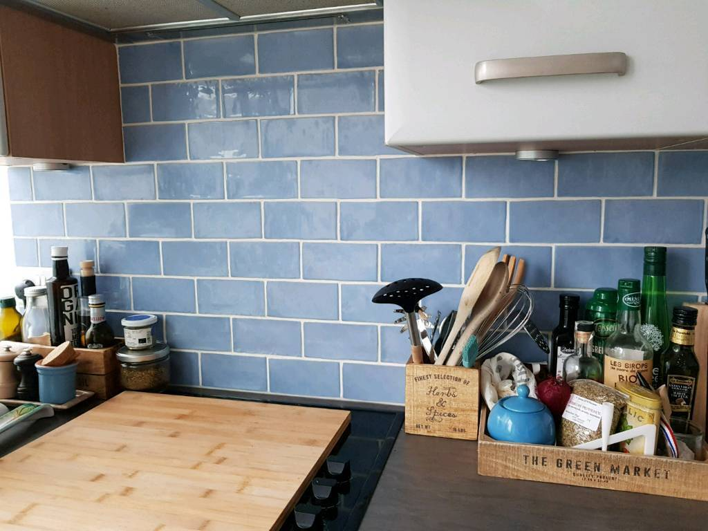 Beautiful blue crackle tiles *NEW* 1sqm left perfect bathroom or ...