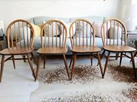 Vintage Ercol Windsor Dining Chairs Set Of Four Solid Elm 1960's UK Rustic Chic