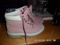 pink ladies or girls boots worn once size 6 for sale