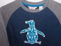 Brand New with Tags Boys Navy and Grey Penguin Long Sleeve Top Size L Age 14-16yrs