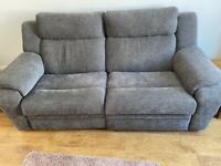 2 seater grey recliner couch