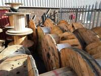 Wooden cable drums used ready for up cycle into tables or displays etc various sizes