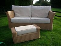 Ratten style 3 seater sofa with matching footstool with pale cream suedette covers