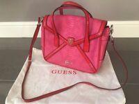 Ladies DesignerGUESS Shoulder Bag / Handbag Pink Snakeskin