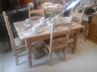 Natural Pine Farmhouse Table and Four Chairs