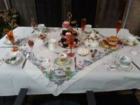 Vintage bone china cups, saucers and cake plates. Job lot. 196 pieces
