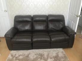 Dark brown leather 3 piece suite