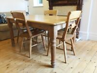 Solid Pine Handmade Table and 4 Chairs
