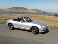 Mazda MX5 Silver with mohair hood