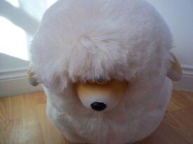 large lamb stool new in cream fur