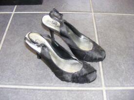 Black Satin Sling Back Shoe Size 4 Worn Once.