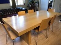 ****Large Maple dining table and 6 chairs****