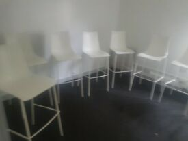 white bar height chairs 35 pounds each